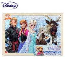 Дисней Принцесса головоломка лед Марвел Микки головоломка 100 шт. деревянная рамка плоская Лазерная Головоломка Детские развивающие игрушки