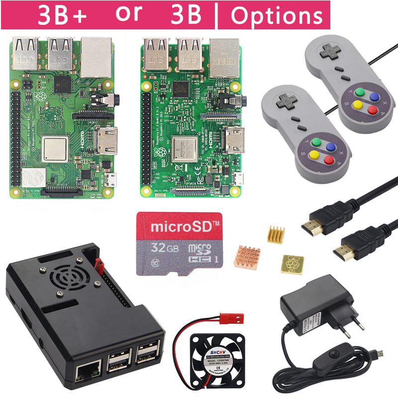 Raspberry Pi 3 Model B  Plus Game Starter Kit  16G 32G SD Card   Gamepad   Case  Fan   Power  Heat Sink  HDMI Cable for RetroPie