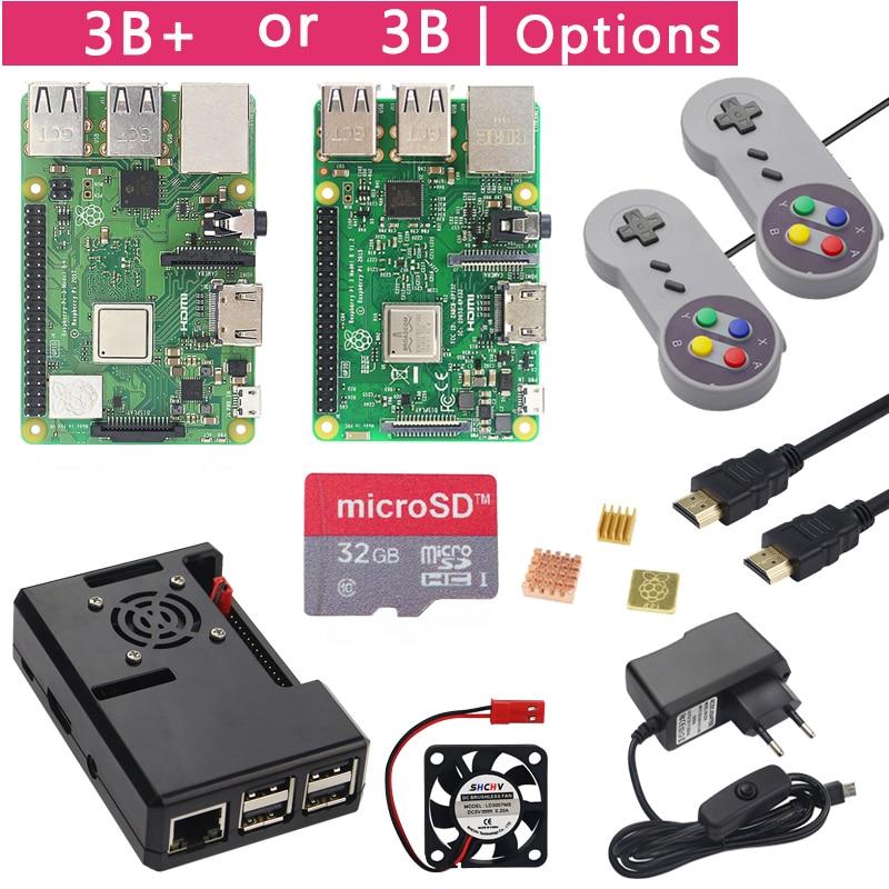 Raspberry Pi 3 Model B+ Plus Game Starter Kit +16G 32G SD Card + Gamepad + Case +Fan + Power +Heat Sink +HDMI Cable for RetroPie(China)