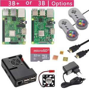 Image 1 - Raspberry Pi 3 modèle B + Plus Kit de démarrage de jeu + carte SD 16G 32G + manette + boîtier + ventilateur + alimentation + dissipateur thermique + câble HDMI pour RetroPie
