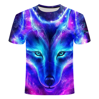 2019 Newest 3D Print Animal The Wolf T-shirtCool Funny T-Shirt Men Short Sleeve Summer Tops T Shirt 3 d Wolf with short sleeves