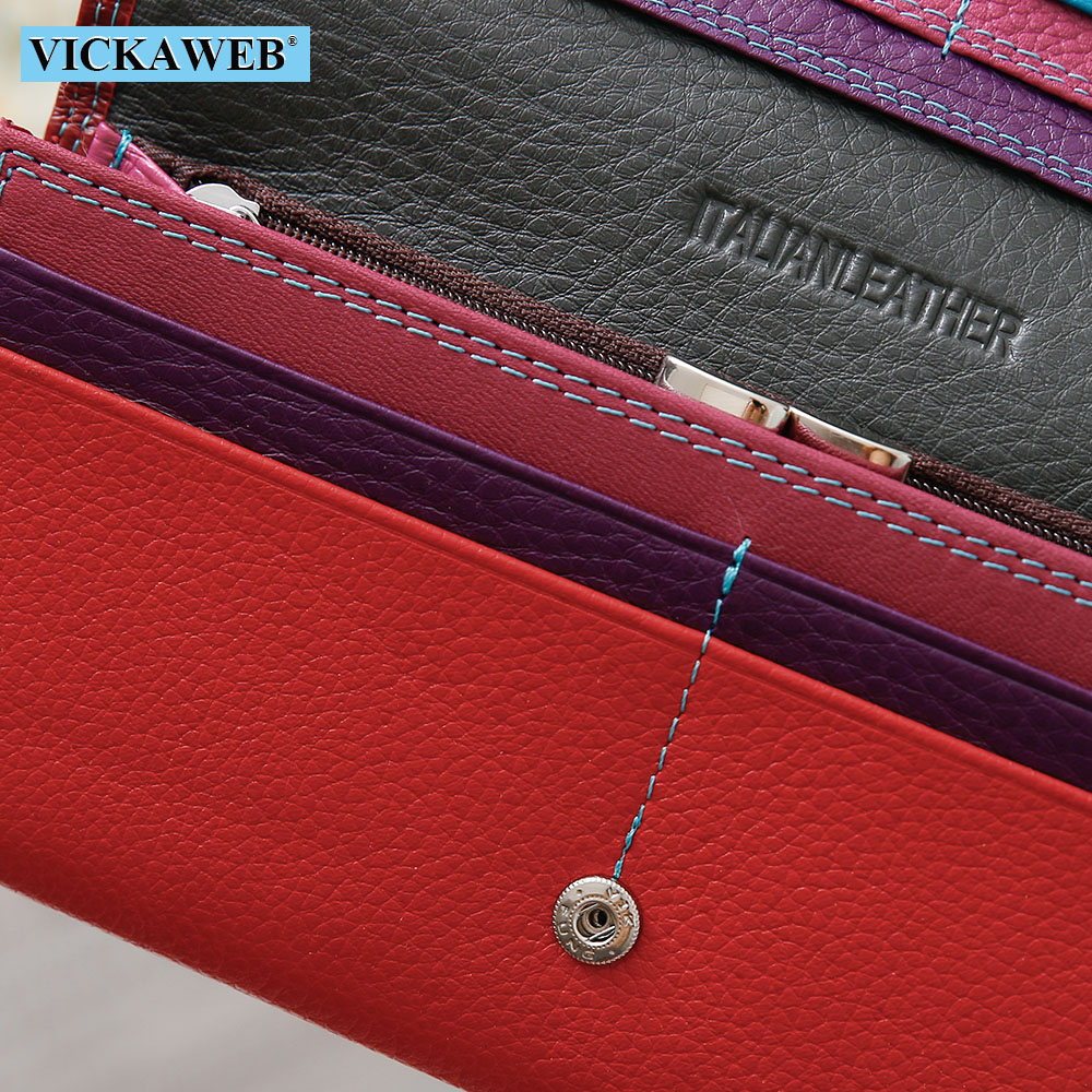 Image 5 - VICKAWEB Women Wallet Female Long Patchwork Genuine Leather Money Purse Ladies Fashion Wallets Woman Hasp & Zipper Coin PursesWallets   -