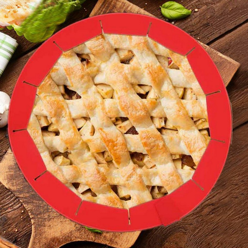 Adjustable Silicone Pie Crust Shield Silicone Fit 8.5Inch - 11.5Inch Rimmed Dish Convenient home gadgets kitchenwar QSK image