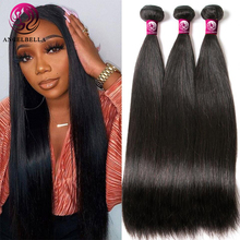 Angelbella 1/3/8 Pcs Peruvian Hair Bundles Straight Natural Black 10-30 Inches Human Hair Weave Bundles Remy Hair Extension