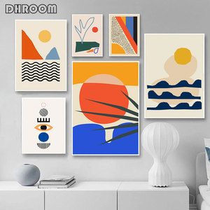 Geometric Abstract Scene Scandinavia Canvas Painting Wall Art Prints Poster Picture for Gallery Living Room Interior Home Decor