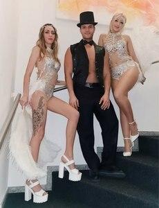 Image 4 - キラキラシルバークリスタルメッシュボディスーツ女性羽のレオタード衣装女性バーダンスステージパーティードレスダンス衣装祝うドレス