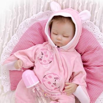 Lifelike 17 Inch Toy Reborn Baby Doll 43 cm Soft Silicone bebe reborn realista  Menina Brinquedo Children Birthday Gift