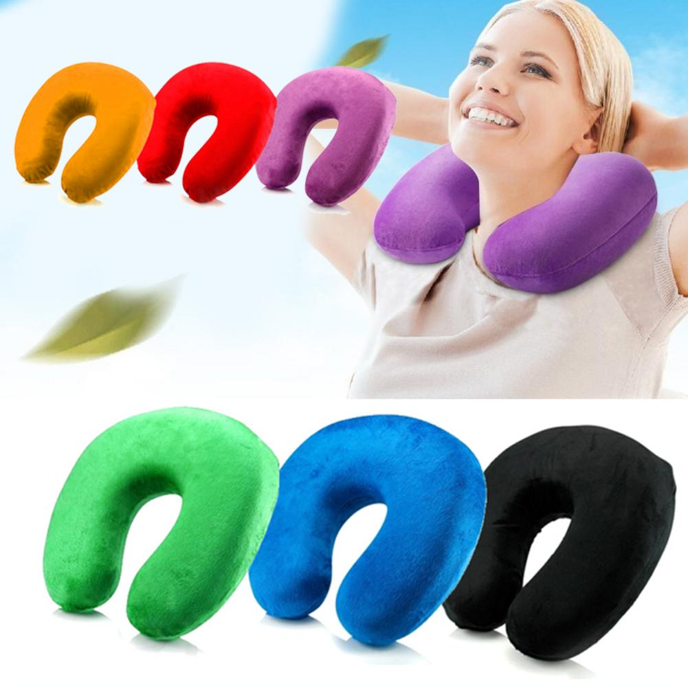 U-Shaped Travel Pillow For Airplane Inflatable Neck Pillow Travel Accessories 3Colors Comfortable Pillows For Sleep Home Textile image