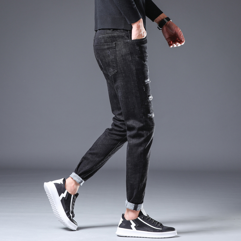 New Young Men's Fashion Casual Stretch Slim Jeans  Classic Trousers Denim Pants Male Jeans Men Slim High Quality Trousers Cotton
