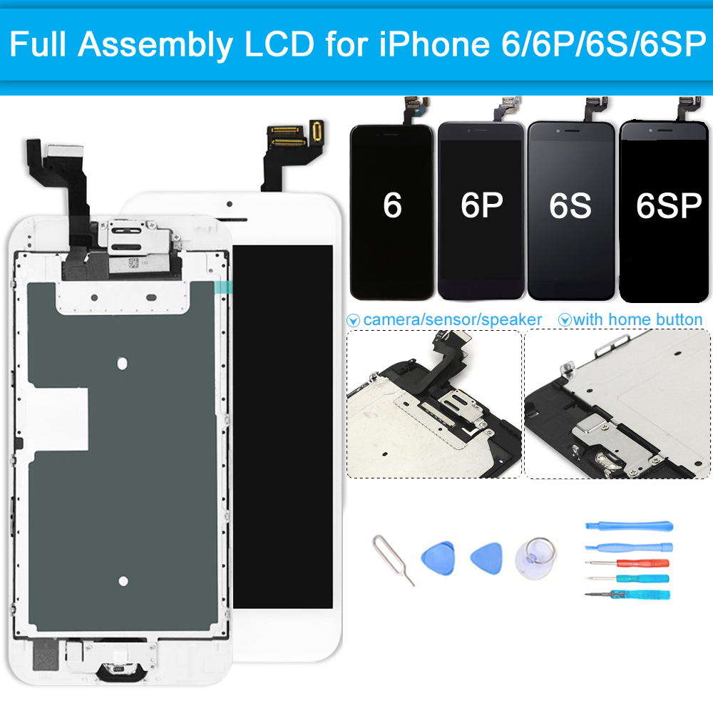 Full set screen For iPhone 6 6G 6S 6 plus Screen LCD Replacement Display, Complete With Home Button Front Camera Speaker image