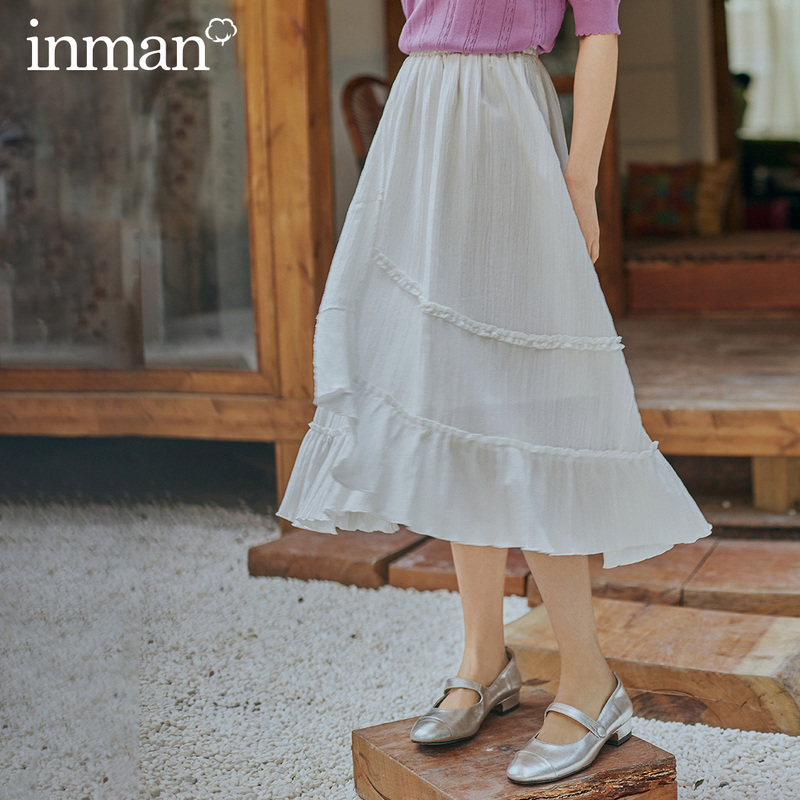 INMAN 2020 Spring New Arrival Dimple Style Retro Grilish Literary Elastic Waist Falbala Skirt