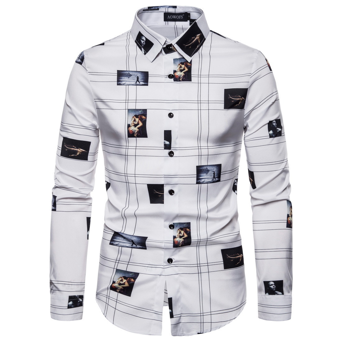 Men's New Business Personality Printing Long Sleeve Spring And Autumn Shirt European Size XXL