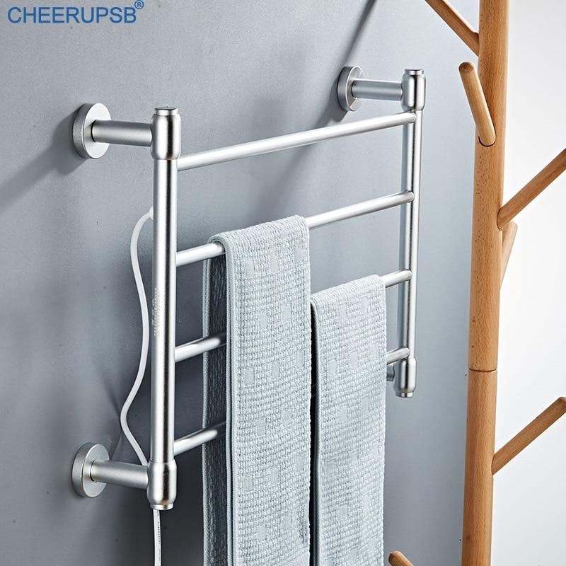smart heated towel warmer bathroom thermostatic bath towel rack electric heater shelf wall mount hanger towel dryer drying rail