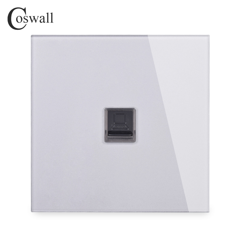 COSWALL Crystal Tempered Glass Panel Wall Socket RJ45 CAT5E Data Computer Connector Internet Jack R11 Series Grey Gray Color