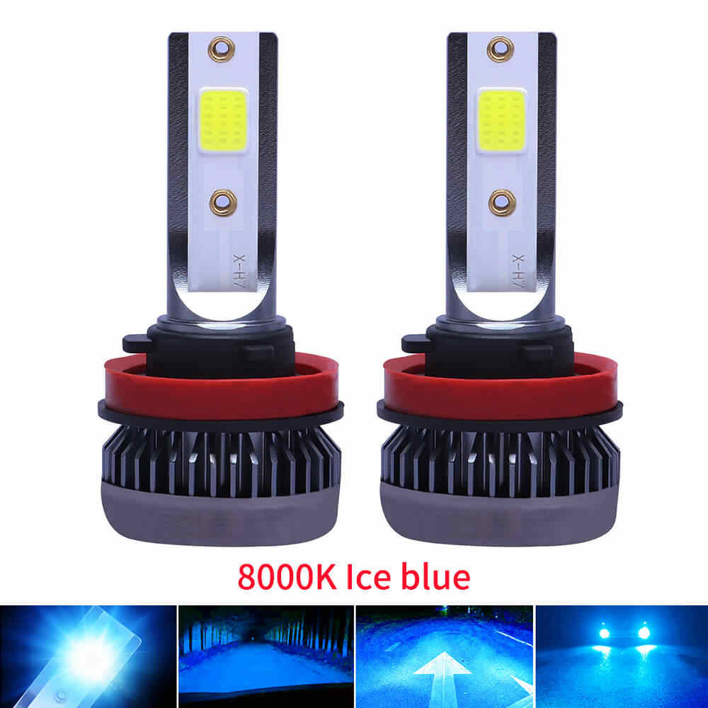 2PCS 8000K Ice blue H7 LED 9600LM Mini Car Headlight Bulbs H4 LED H11 H1 9012 Headlamps Kit 9005 HB3 9006 HB4 COB Auto LED Lamps