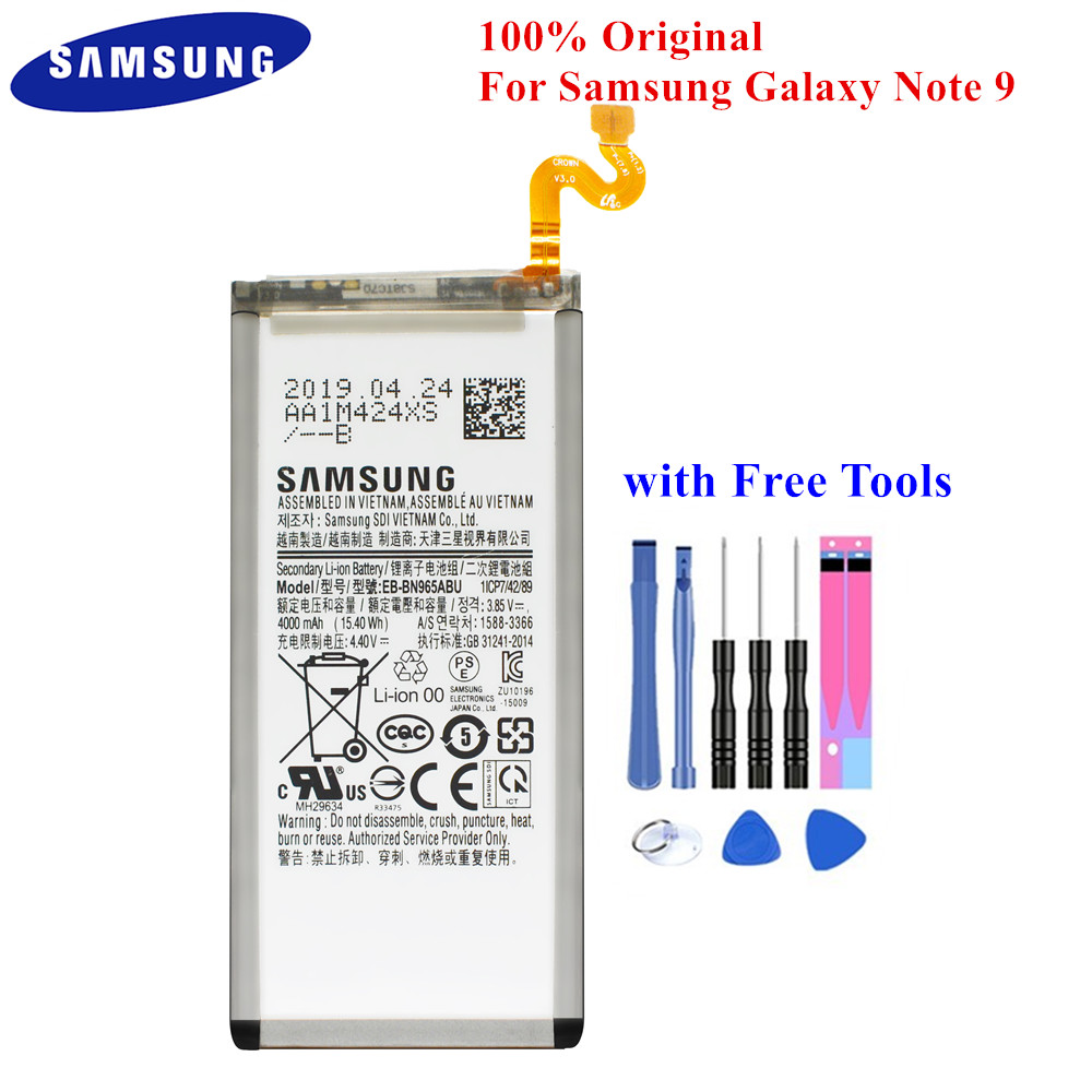 Samsung Genuine Battery EB-BN965ABU For Samsung Galaxy Note9 Note 9 SM-N9600/DS SM-N960F SM-N960U 4000mAh Full Capacity Akku