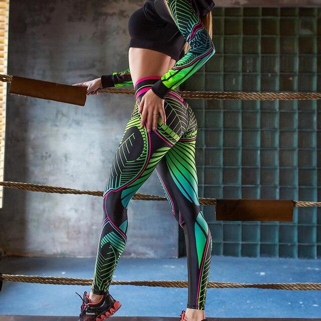 SVOKOR Women leggings Sexy High Waist Slim Printing Leggings Gym high stretch breathable pants women 3