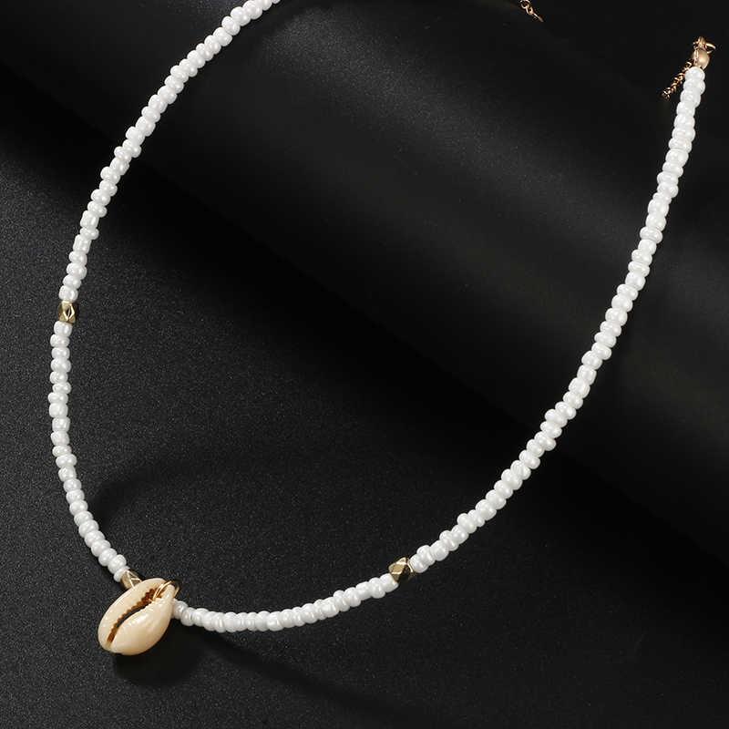 HuaTang Böhmische Grüne Strass Shell Choker Anhänger Halskette für Frauen Charming Bead Schmuck Strand Outfits Collares 6947