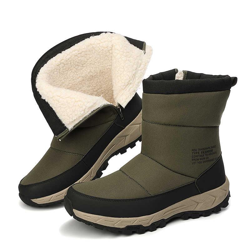 Mode Winter mannen Laarzen Hoge Kwaliteit Rits Mannen Enkellaarsjes Dikke Pluche Warme Man Snowboots Outdoor Motorfiets Schoenen 39-46