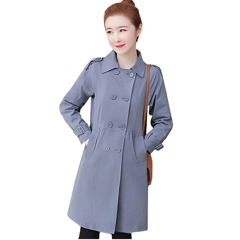 Outerwear Trench-Coat Windbreaker Spring Female Autumn Korean Double-Breasted Womens