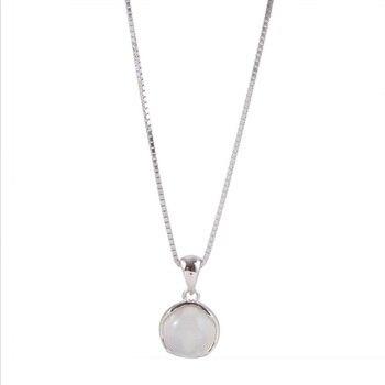 Collar con colgante de piedra lunar redonda para mujer gargantilla de cadena de clav cula
