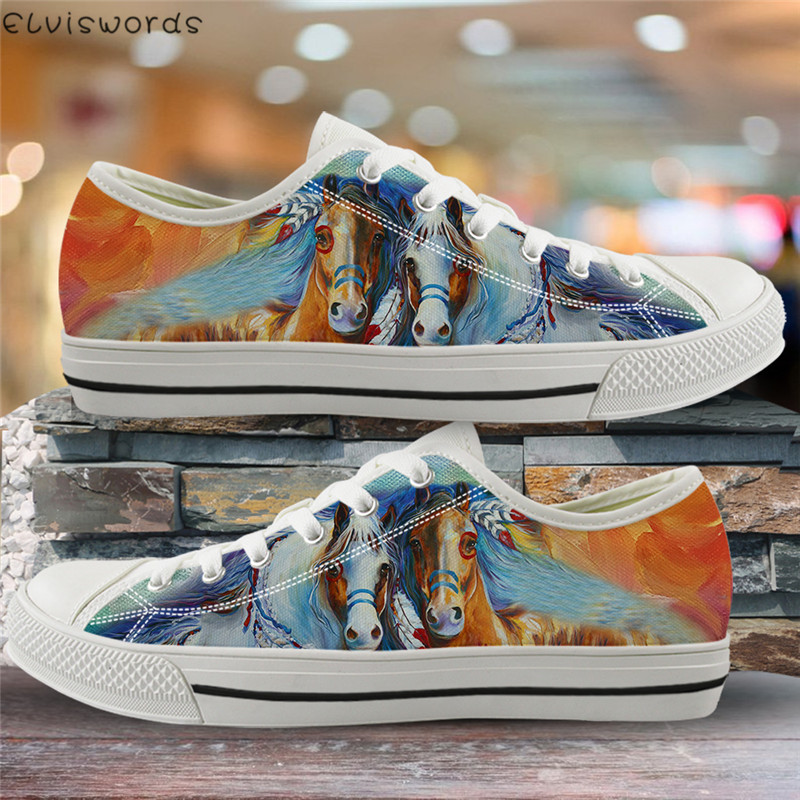 ELVISWORDS Air Mesh Women Vulcanized Shoes Painting Horses Print 3D Canvas Low Top Flats Female Casual Outdoor Sneakers For Lady