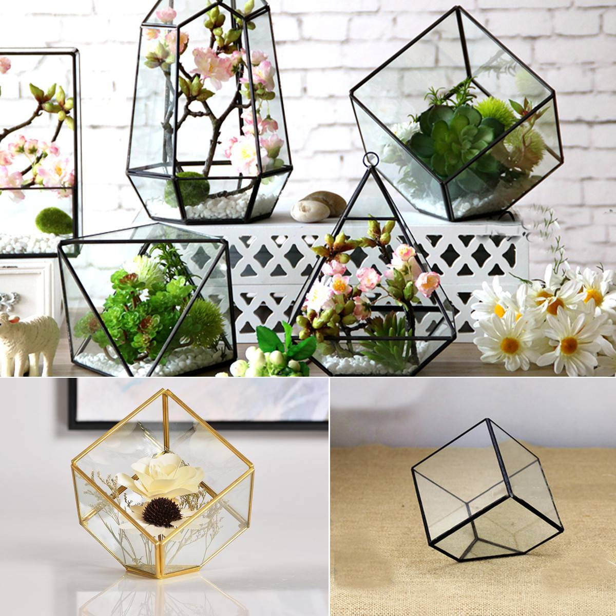Glass Geometric Terrarium Faceted Tabletop Succulent Plants Container Pot Box Artistic Planter Jewelry Candle Holder Gift Home