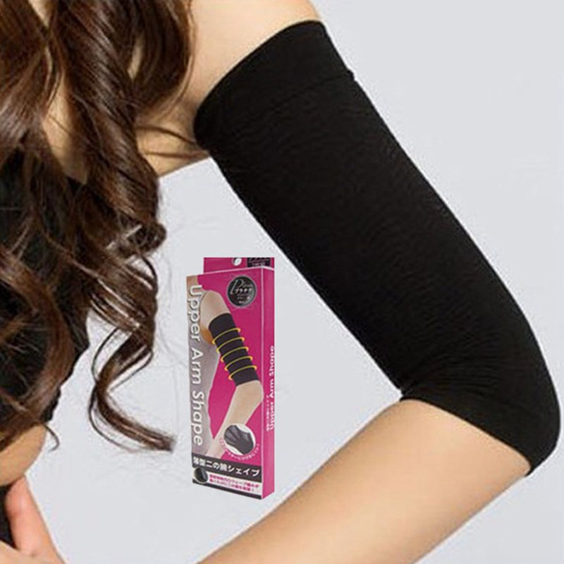 1 Pair Arm Sleeves Women 420D High Elastic Breathable Weight Loss Shaping Pure Color Compression Spring Summer Arm Warm Sleeves