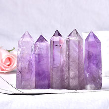 Doğal ametist kristal noktası şifa taşı kuvars kristal değnek kulesi Mineral 70-80mm ev dekorasyon süsler için DIY hediye