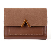 Luxury Women Fashion Trifold Short Wallet  Patchwork Metal V-Shaped Retro Students Simple Buckle Purse Solid Coin Purs