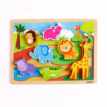 Wooden 3D Animal Jigsaw Puzzle Wooden Toys for Kids Baby Early Educational Toy Montessori wooden Puzzle/Hand Grab Board baby toys montessori 2 in 1 puzzle hand grab board set educational wooden toy cartoon vehicle marine animal puzzle child gift