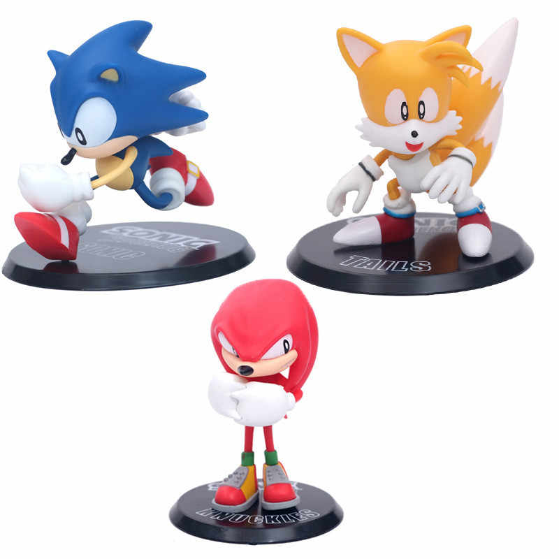 Sonic The Hedgehog Miles Knuckles Pvc Action Figure 110Mm Anime Movie Game Sonic Beeldje Model Speelgoed 3 Stks/set