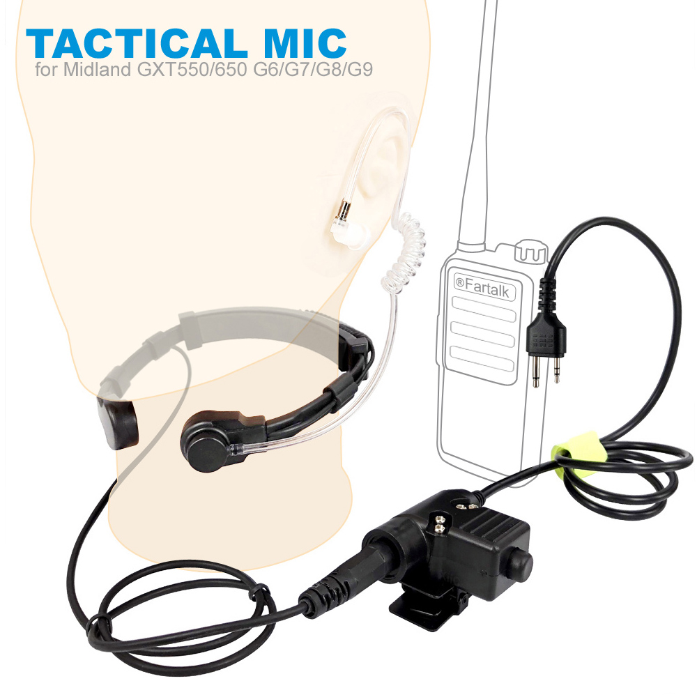 Walkie Talkie Microphone Heavy Duty U94 PTT Neck Throat Mic Earpiece Radio Tactical Headset For MIDLAND GXT550/650/G6/G7/G8/G9