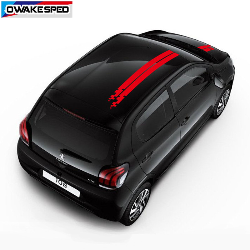 City Car Hood Roof Stickers Racing Sport Stripes Auto Body Engine Cover Decor Vinyl Decals  For Peugeot 108