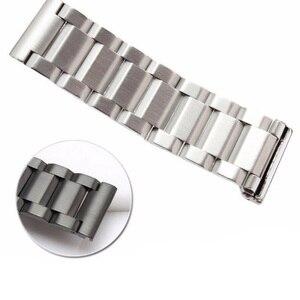Image 5 - Rolamy 18 20 22 24mm Neue Mann Silber Gebürstet Feste Edelstahl Armband Uhr Band Strap Gürtel Für Seiko tudor Tag Heuer