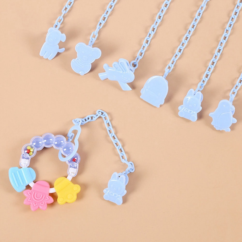 Cartoon Animals Shaped Pacifier Nipple Teether Chain Safety PP Pacifier Clip Chain Holders Newborn Baby Feeding Accessories