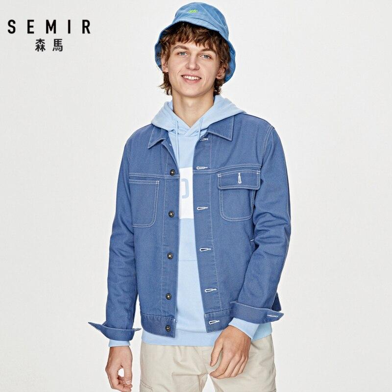 SEMIR Jacket Men 2020 Spring New Tooling Style Jacket Korean Trend Casual Youth Lapel Cotton Demin Jacket Man
