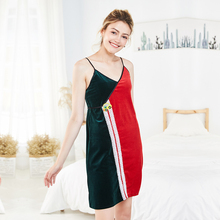 New gold velvet sleepwear Womens autumn and winter slings red green contrast color sexy nightdress home wears