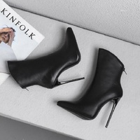 Sexy skinny pointed ankle boots 34 43 size ultra high heel ankle boots black hipster boots for ladies