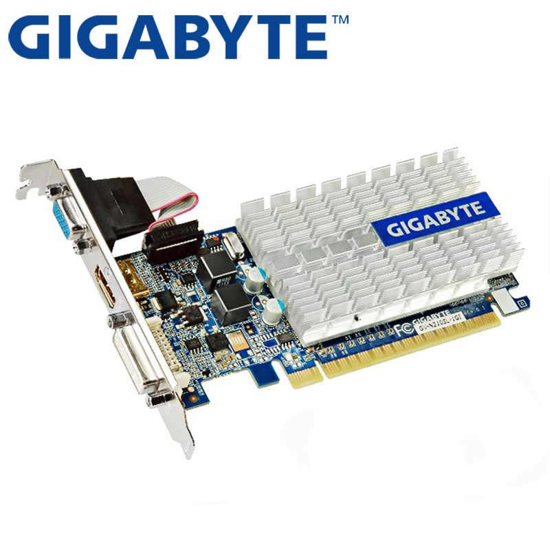 جيجابايت بطاقة الفيديو الأصلي G210 1GB 64Bit GDDR3 بطاقات الرسومات ل nVIDIA غيفورسي GPU ألعاب Dvi VGA تستخدم بطاقات DVI HDMI
