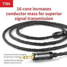 Cabo de fone de ouvido banhado à prata, trn 16 núcleo, 2.5mm, 3.5mm, 4.4mm a 0.75, 0.78 2pin mmcx, hifi substituição de cabo de fone de ouvido