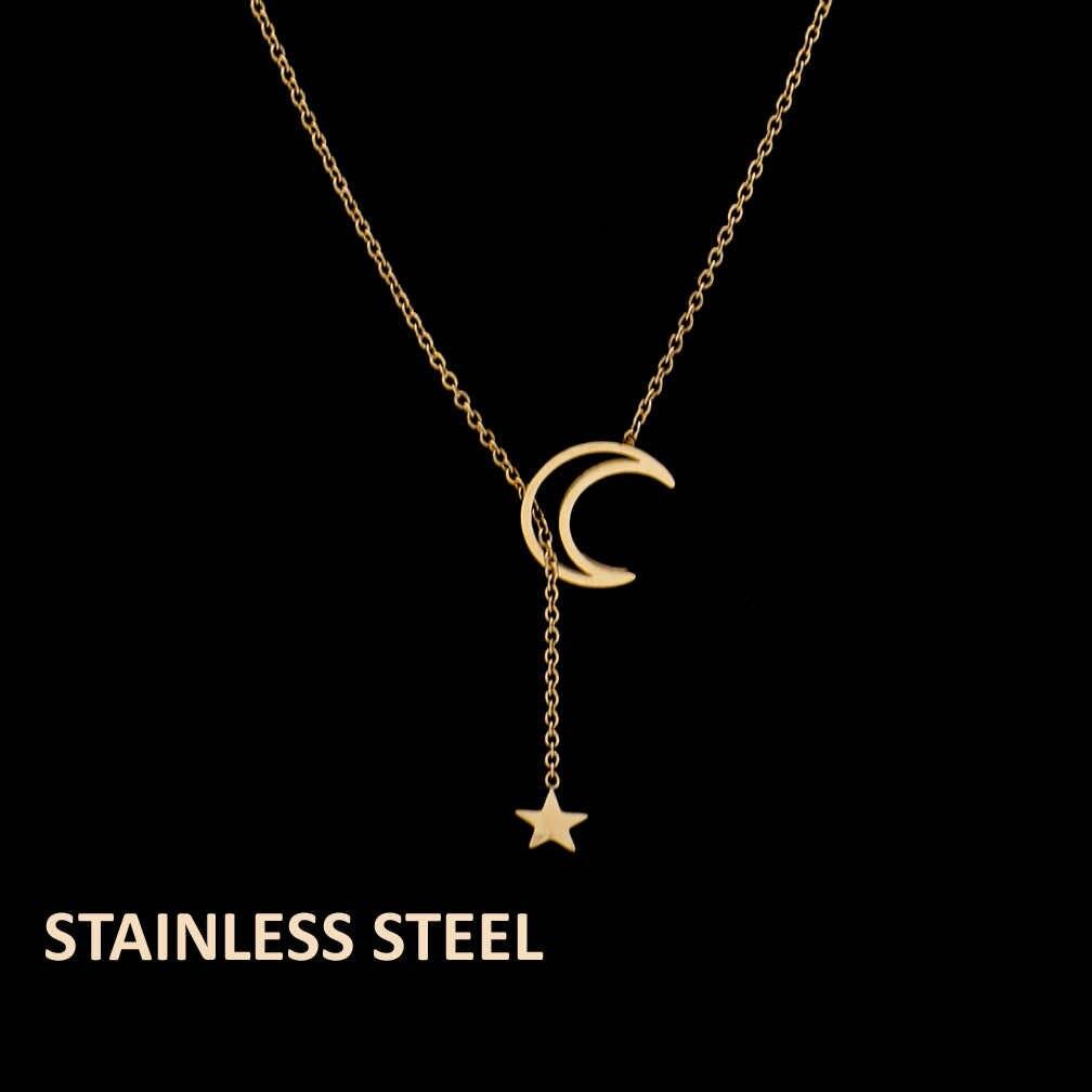 Fengnee สแตนเลสสตีลเครื่องประดับสำหรับสตรี Rose Gold จี้ Moon Star สร้อยคอ