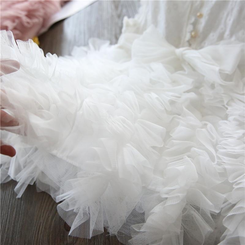 White Lace Little Girl Princess Dress Fluffy Cake Smash Dresses Kids Wedding Party Wear Birthday Tutu Gown Children Clothes 3-8T 3