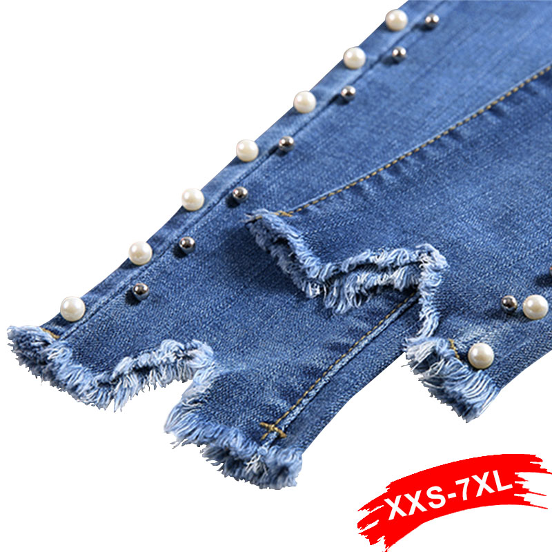 Summer Plus Size Skinny Side Pearl Beading White Wash Capris Jeans 4Xl 5Xl Light Blue Women Casual Stretch Denim Pants Trousers