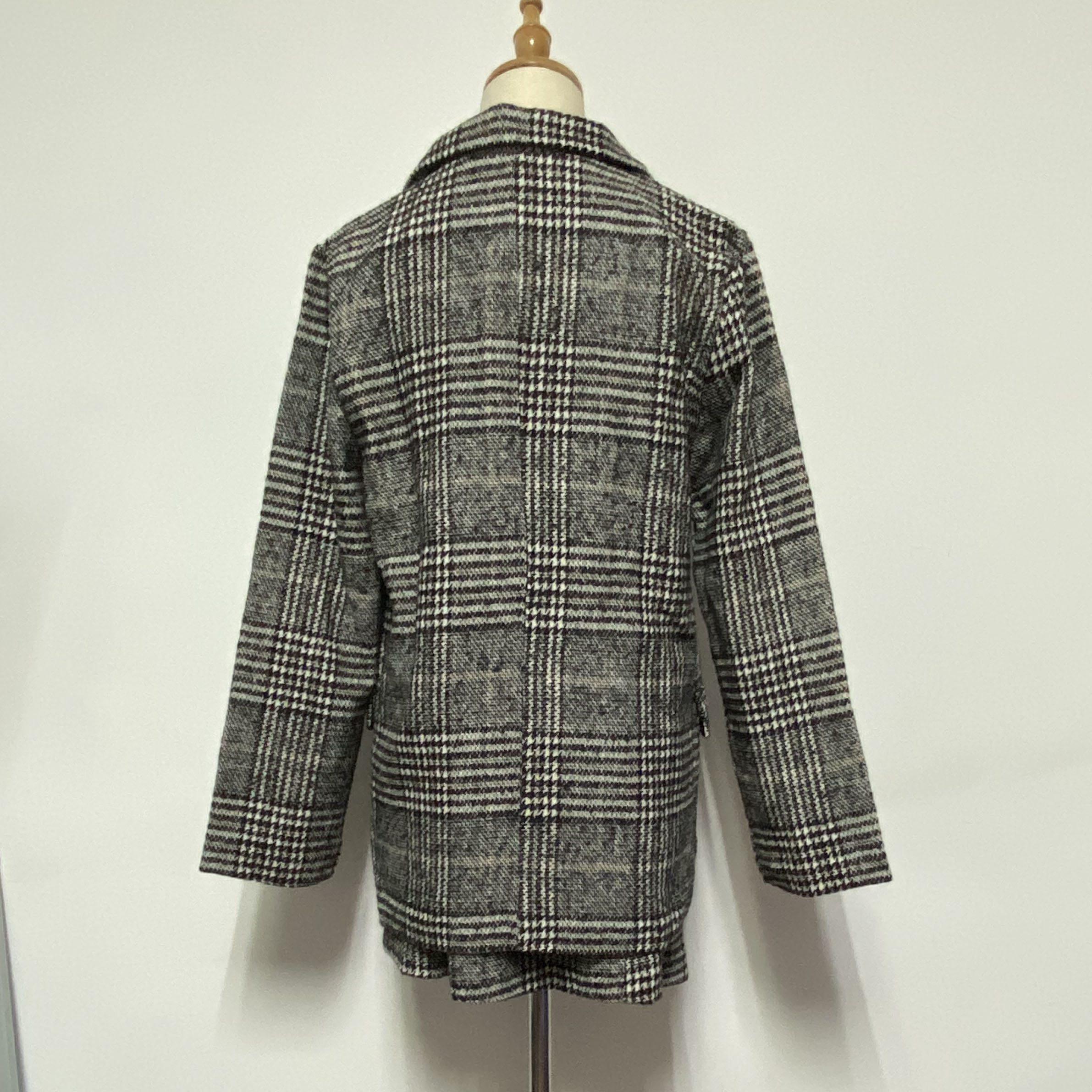 Autumn Women's Costumes Two Piece Set Plaid Blazer Suit Pencil Short Skirt Sets Fashion Oversize Jacket Female Outwear Clothes