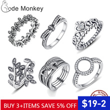 CodeMonkey Hot Sale 100 925 Sterling Silver Rings Clear CZ Circle Round Lucky Rings for Women