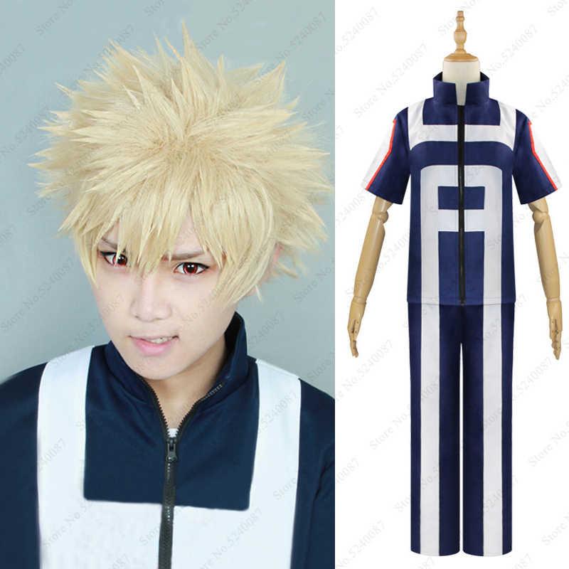 Mijn Boku Geen Hero Academia Anime Pruik Bakugou Katsuki Korte Haar Schooluniform Pak Fitness Sport Jassen Broek Cosplay Kostuums
