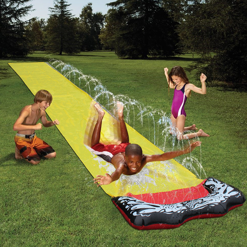 Lawn Water Slides 16ft Silp Slide With Spraying For Kids Boys Girls Children Garden Play Swimming Pool Games Outdoor Party Toys