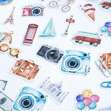 2019 new fashion hot 45Pcs Cartoon Travel Camera Towers Stickers DIY Luggages Handbook Scrapbook Decor decorate luggage handbook