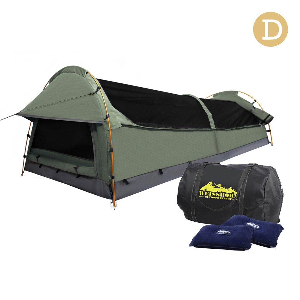 Quality & Durable Weisshorn Double Swag Camping Swag Canvas Tent - Celadon Waterproof UV Protection Camping Swag A2